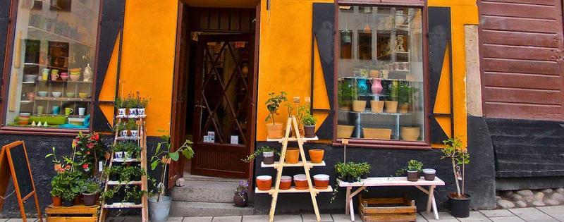 Vetrina di un negozio di fiori