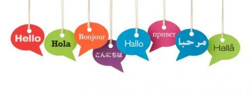 Fumetti con scritto Ciao in diverse lingue